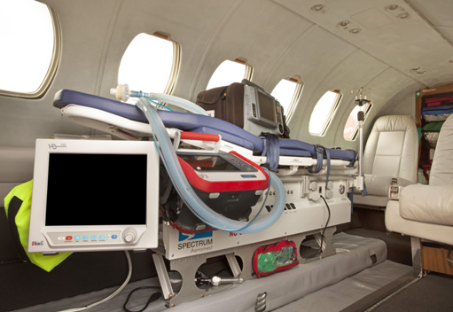 Emergency cancer treatment equipment on a private aeroplane